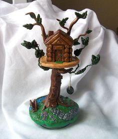 Fairytale Miniatures- Treehouse with Swing. $45.00, via Etsy.