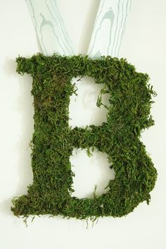 Moss letters.  I think I like it, but I want to see how to tie ribbon to an H.  It hangs kinda weird!