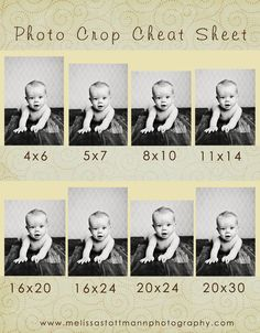 Photo Crop Cheat Sheet