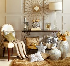 Shimmer and shine for the holidays with Pier 1 Golden Petals Wall Décor, Amber Mosaic Console Table and assorted pillows