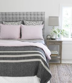 bed frames, graphic prints, headboards, color, bedroom makeovers, decorating ideas, pink, grey, diy home