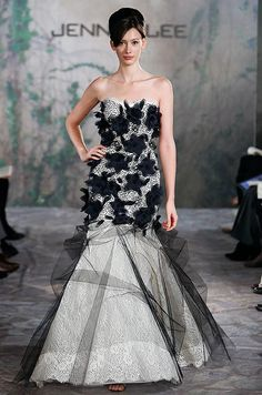 Black and white wedding dress from Jenny Lee, Fall 2013