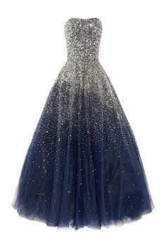 Sequined strapless silk tulle gown by Marchesa
