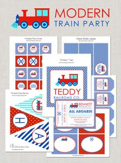 #Modern #Train Birthday #Party #Printables #Train Party Invitation