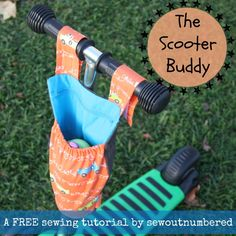 Scooter Buddy Tutorial... The perfect accessory to help promote independence by letting kids carry their own drink bottle PLUS you can pop your keys and other goodies into the zippered section and get them to help you for a change!! ~ Sew Outnumbered