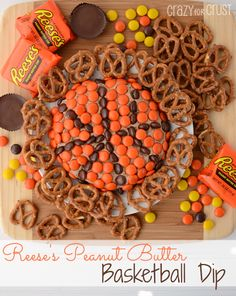 Reeses Basketball Dip by www.crazyforcrust.com   A sweet dip made with Reeses PB Cup and Reeses Pieces! #snackmadness