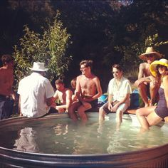THE CABIN HOUSE: stock tank soaking pool. Yes!