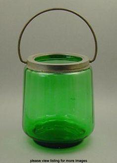 Vintage Antique Victorian Era Green Optic Glass Biscuit Cracker Jar Barrel