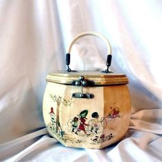 Vintage 1970's octagonal wooden decoupage purse or sewing box