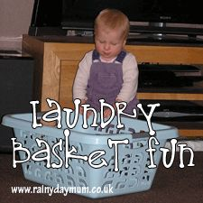 Baby Play Ideas ~ Laundry Basket Fun
