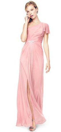 One Shoulder Beaded Bridesmaid Dress with Side Slit Style F15519 #davidsbridal #rusticwedding #bridesmaids