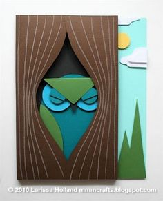 Great tutorial for this sleepy owl tucked in his tree card