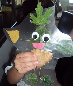 "Leaf People:  Make this craft after an outdoor scavenger hunt or a class ""hike."" I will do this with my first graders during our camp week at the end of the year. After they collect their nature items during the hike, we will return to the classroom where the kids will creature their ""leaf person/animal/creature"" and then they can write about their ""leaf friend"". books, camp crafts preschool, fall leaves, preschool camping crafts, scavenger hunts, contact paper, teach kids about camping, leaf peopl, camping crafts for preschool"