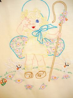 Vintage Little Bo Peep Hand Embroidered Baby Quilt