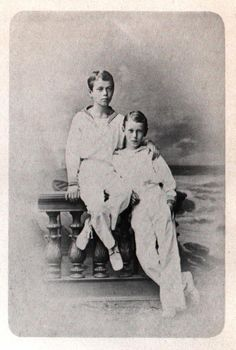 Tsarevich Nicholas Alexandrovich and his brother GD George.
