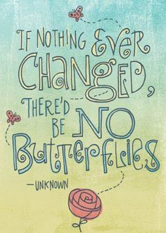 If nothing ever changed...no butterflies!