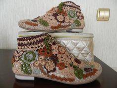Обувь ручной работы. Ярмарка Мастеров - ручная работа ботиночки летние связанные ирландским кружевом. Handmade.