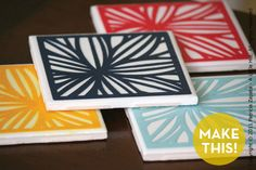 paper cut outs, diy coasters, tiles, gift ideas, gift crafts, papers, coaster set, cut paper, tile coasters