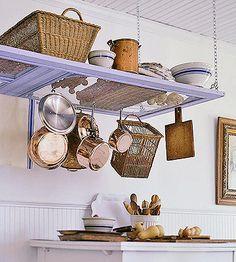 pot racks, idea, kitchen storage, door hangings, old screen doors, extra storage, screens, old doors, hanging pots