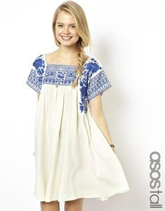 ASOS TALL Premium Swing Dress With Embroidery