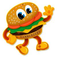 Small Dancing Hamburger Metal Sign  http://www.retroplanet.com/PROD/37072