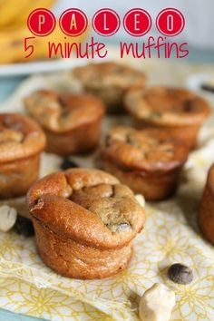 5 Minute Paleo Muffins - Banana Chocolate Chip--these look yummy even for a non-paleo person like myself paleo banana muffins, banana muffins paleo, banana chocol, chocolate chips, paleo banana breakfast muffins, paleo protein muffins, egg muffins breakfast paleo, chocol chip, paleo recipes muffins