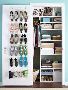 Single-Door Closet          Live large and make the most of this small space. In this closet, a simple self-assembled shelving unit provides loads of adjustable space for folded T-shirts, jeans, and sweaters, while also accommodating boxes and baskets filled with camisoles and undergarments.