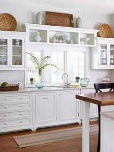 white kitchen- shelf over window