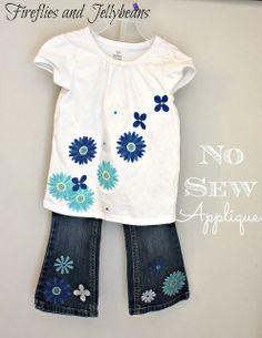 No sew easy flower applique shirt & jeans