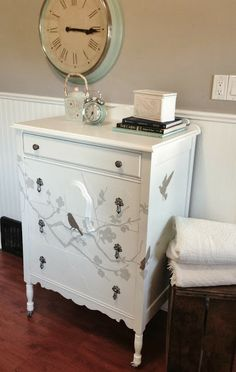 Repurposed Gems: White Painted Tallboy with Bird and Branches Stencil Decal