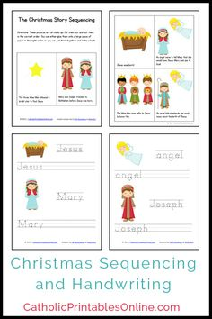 Free Christmas mini book printable pages as well as a matching set of Holy Family handwriting printables.