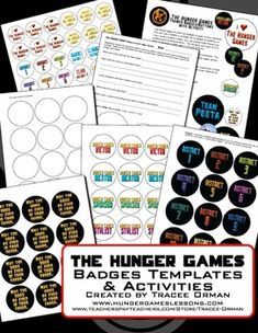 """""""Hunger Games"""" Badges/Buttons Activity and Templates hunger game, templat"""