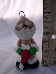 craft, clay project, navidad, polym clay, nake santa, christma ornament