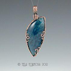 Indigo Blue Apatite Handmade Artisan Crafted Wire Wrapped Pendant