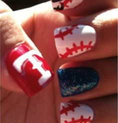 "Love the nail art ""TEXAS RANGERS""!!"