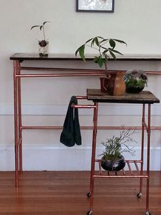 DIY copper and wood table and cart