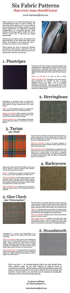 Six Fabric Patterns That Every Man Should Know