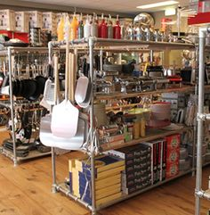 Retail Shelving made with Kee Klamp pipe fittings.