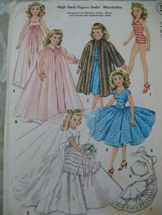 Vintage 50s McCalls Sewing Pattern 2162 Doll Clothes 18 Inch