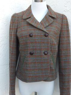 Boden-size-8-dark-green-plaid-wool-double-breasted-crop-jacket