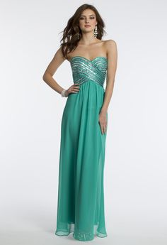 Camille La Vie Strapless Chiffon Piped Prom Dress
