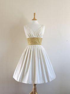 Ivory Satin and Gold Brocade Dress