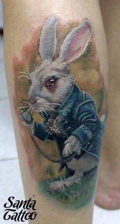 tattoo ideas, alice wonderland tattoo, alice in wonderland tatoo, robson santo, tattoo artists, rabbit tattoo, a tattoo, design, white rabbit