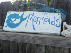 MeRmAiDs Vintage Reclaimed Wood Sign silhouette yummy TURQUOISE and Blue with lots of GlAsS glitter and shells