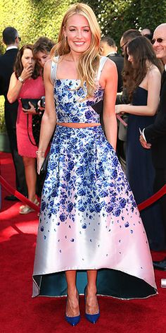 CAT DEELEY So You Think You Can Dance's bubbly host picks a flirty floral crop top and skirt by Sachin and Babi Noir, plus matching cobalt Louboutins, for the Creative Arts Emmys in L.A.