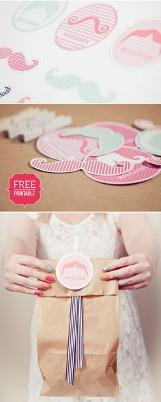 FREE moustache printables {elephant shoe}