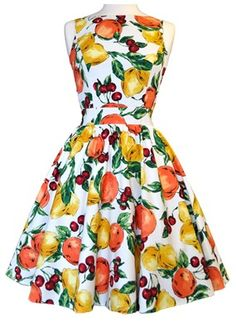 Orange, Lemon  Cherry Fruit Print Tea Dress