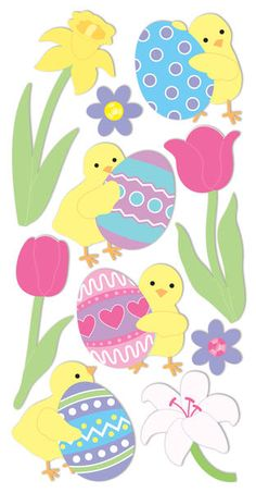 "Sandylion Essentials Dimensional Stickers, 2.75""  X 6.75"" Sheet - Easter Chicks/Eggs/Flowers $1.69"