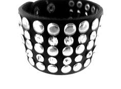 Black Leather Crystal and Stud Snap Bracelet