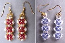 Crystal Flower Earrings Pattern. Combine crystals, pearls, & seed beads, for a pair of classic earrings. Two layers of crystal flowers give these delicate earrings a nicely rounded 3D quality.